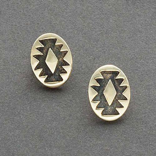 Harvey Begay Gold Earrings of Rug Design