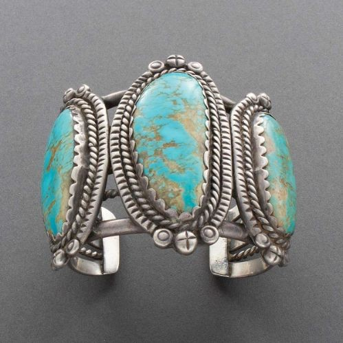Huge Old Pawn Bracelet of Silver and Turquoise