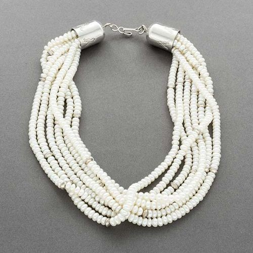 Native American Pearl Necklace with Silver Beads