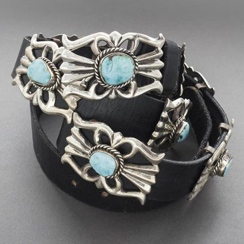 Navajo Belt of Silver Sandcast Conchos Set with Turquoise