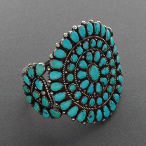 Large Natural Turquoise Cluster Bracelet