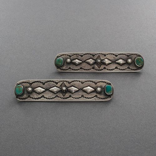 Harry H. Begay Buttons of Silver and Turquoise