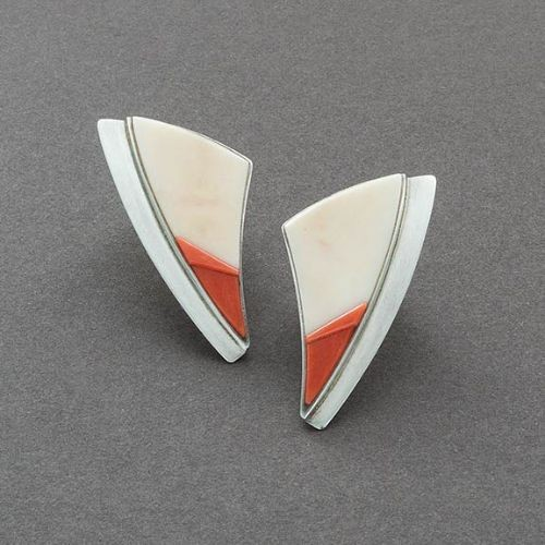 Earrings by Richard Chavez of Fossil Ivory and Coral