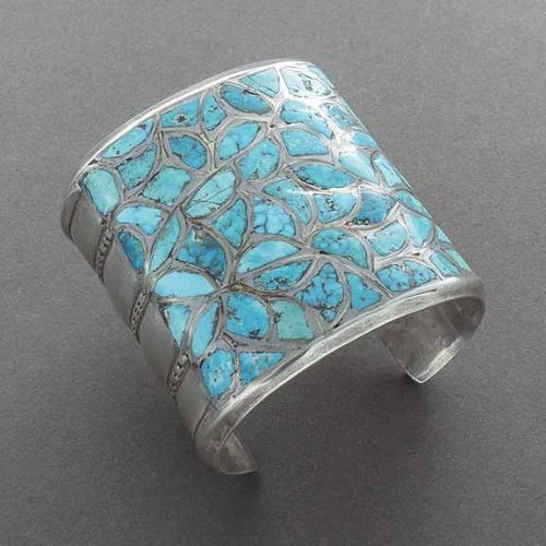 Early Wide Zuni Cuff With Channel Inlay Turquoise
