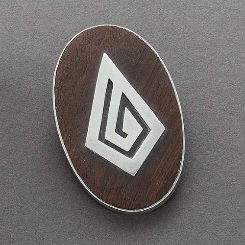 Modernist White Hogan Pin of Ironwood and Silver