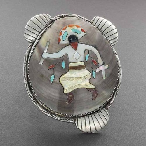 Large Zuni Shell Bracelet With Inlaid Apache Dancer