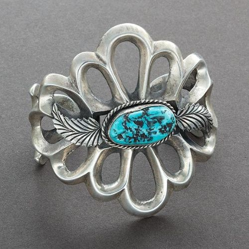 Wide Navajo Bracelet Silver Sandcast With Turquoise