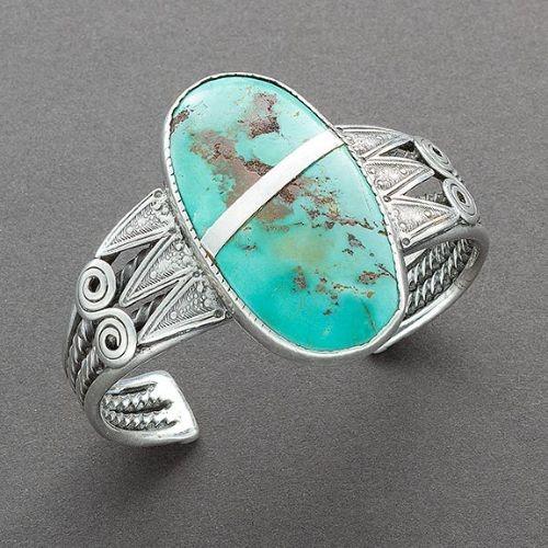Navajo or Pueblo Bracelet Oval Turquoise Ca 1930