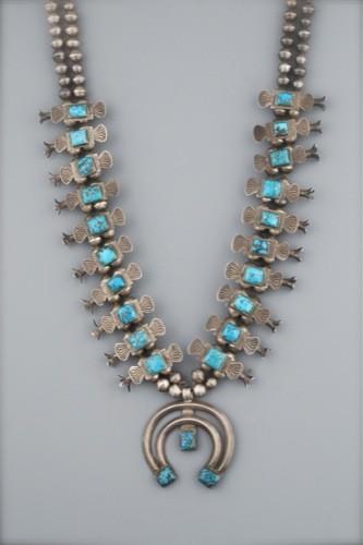 Box Bow Squash Blossom Necklace of Burnham Turquoise