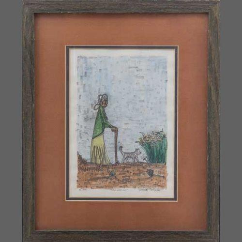 Norbert Peshlakai Painting of Old Lady With Cat