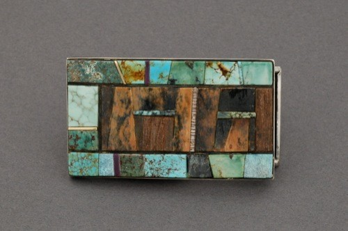 Raymond Sequaptewa Buckle with Turquoise and Wood