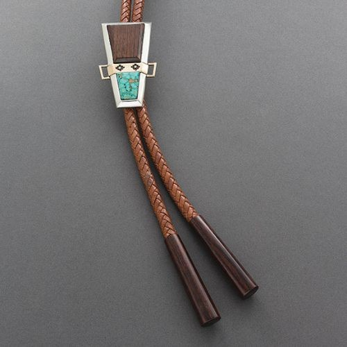 Edison Cummings Bolo of Wood and Turquoise