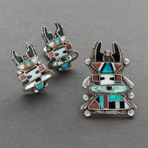Zuni Antelope Kachina Inlay Set Earrings and Pin