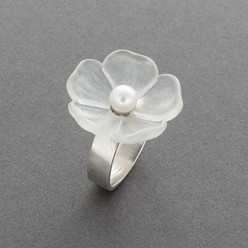 Charlyn Reano Clear Flower Ring with Pearl