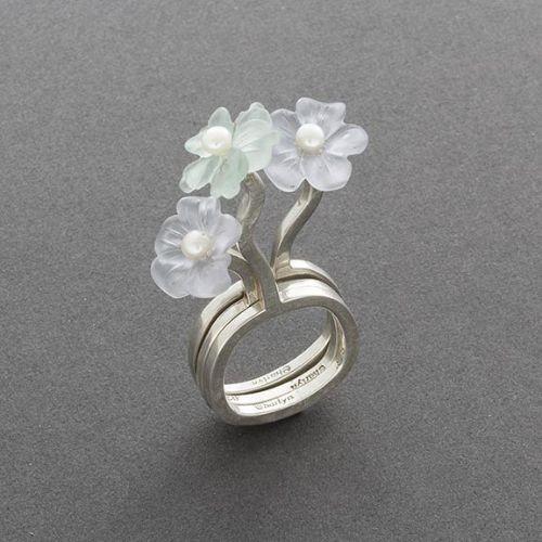 Charlyn Reano Set of 3 Flower Rings