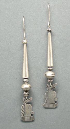Silver Dangle Earrings of Yei Figures
