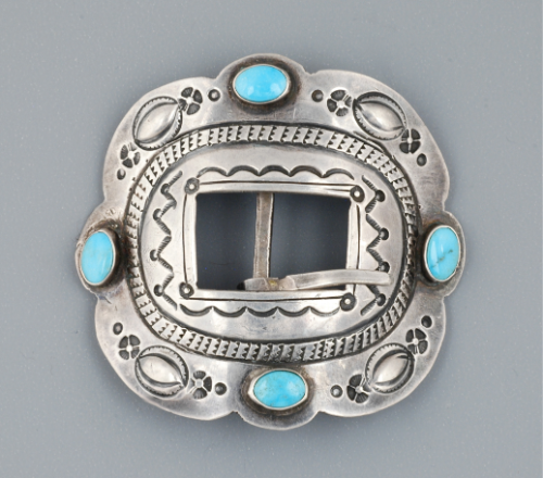 Old Silver and Turquoise Belt Buckle