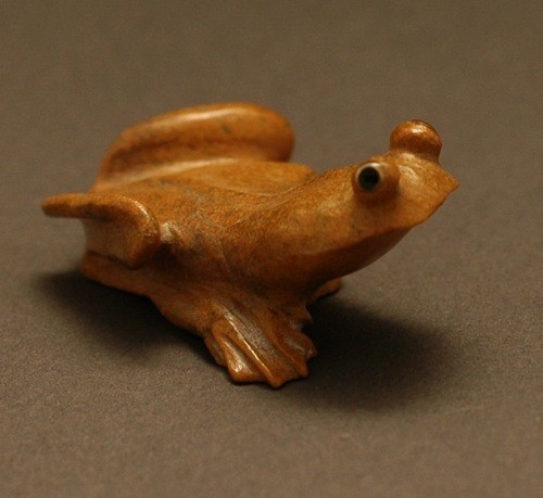 Travertine Frog Fetish by Ricky Laahty of Zuni
