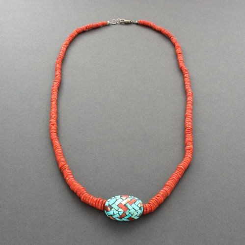 Angie Reano Owen Necklace of Coral and Mosaic Inlay