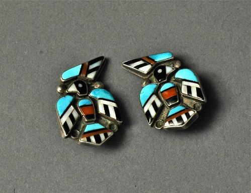 Zuni Inlay Thunderbird Earrings