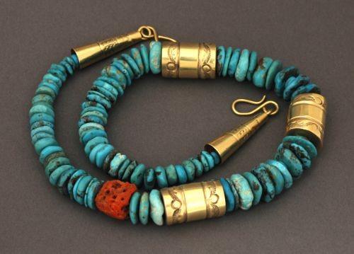 Tony Aguilar Necklace of Tonopah Turquoise
