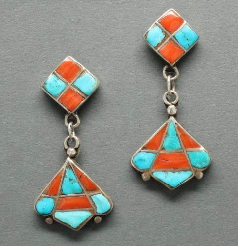 Dan Simplicio Dangle Earrings of Coral and Turquoise Inlay