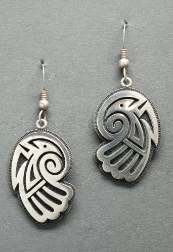 Hopi Overlay Earrings by Ramon Dalangyawma