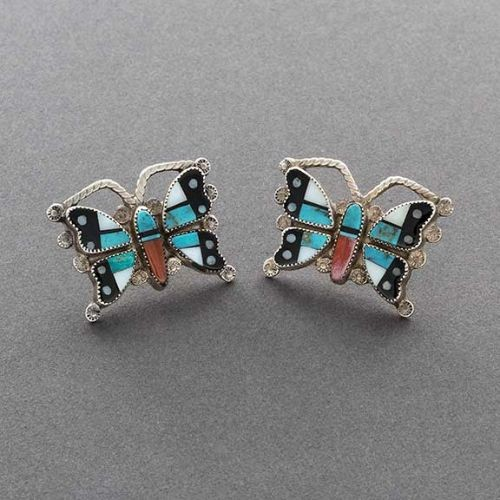 Small Zuni Butterfly Earrings of Complex Inlay