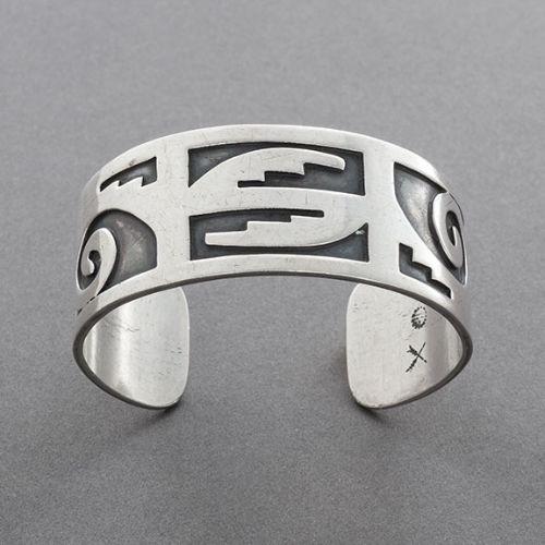 Wallie Sekayumptewa Bracelet of Silver Overlay