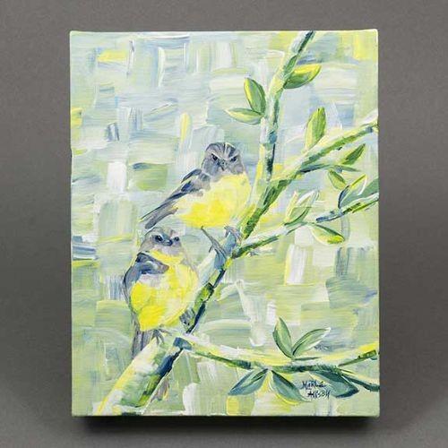 Marla Allison Original Painting Two Eastern Yellow Robins