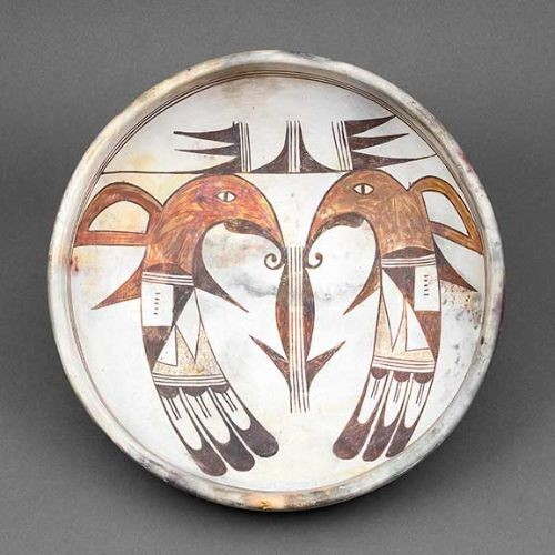 Hopi Patty Maho Bowl with Sikyatki Parrots