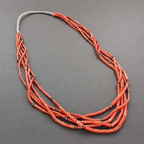 Five Strand Natural Mediterranean Coral Necklace