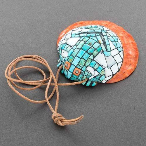 Hohokam Revival Style Mosaic Inlay Frog Pendant