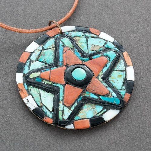 Hohokam Revival Mosaic Inlay Star Pendant