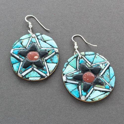 Hohokam Revival Style Mosaic Inlay Star Earrings
