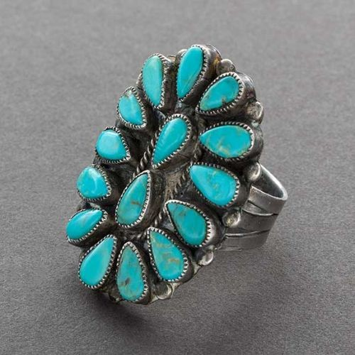 Large Zuni Cluster Ring With Natural Turquoise
