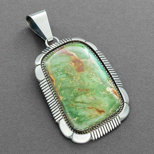 Large Navajo Pendant Set With Green Turquoise