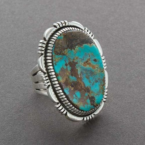Large Navajo Ring of Turquoise and Silver