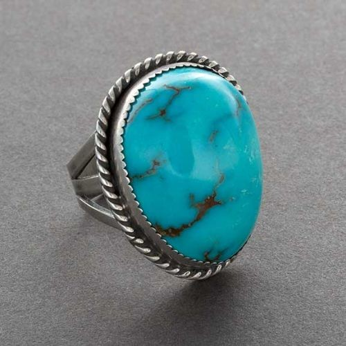 Navajo Ring With Domed Turquoise Stone