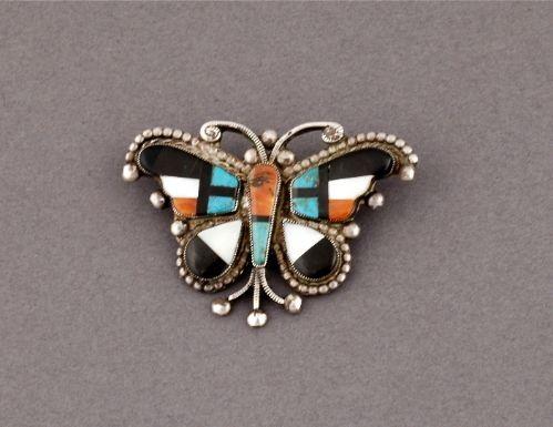 Zuni Inlay Butterfly Pin