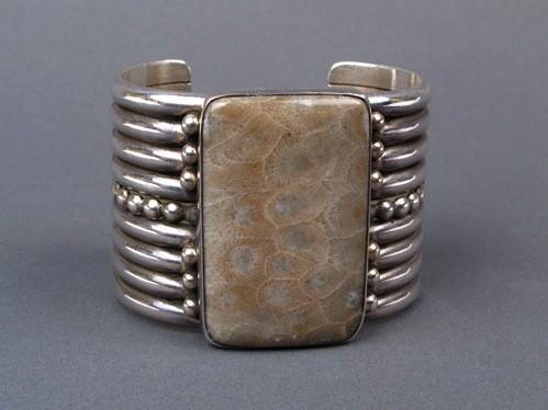 Mike Bird-Romero Bracelet of Fossilized Grey Agate
