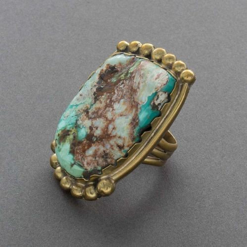 Tony Aguilar ring of Cerrillos Turquoise and Brass