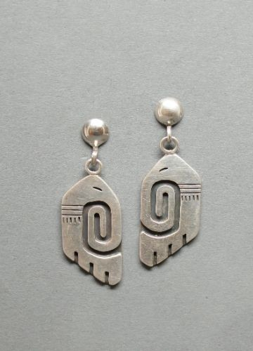 Early Hopi Overlay Dangle Earrings by Douglas Holmes