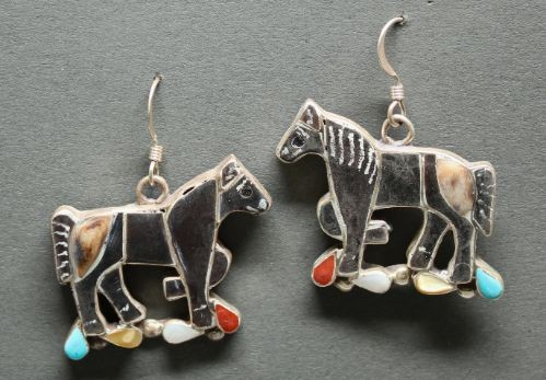 Zuni Inlay Horse Earrings