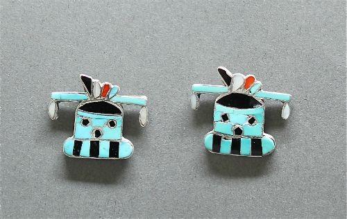 Zuni Inlay Mudhead Katsina Earrings