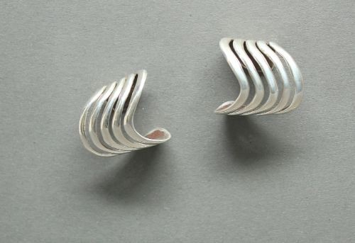 Kay Begay Rogers Swirling Silver Hoops