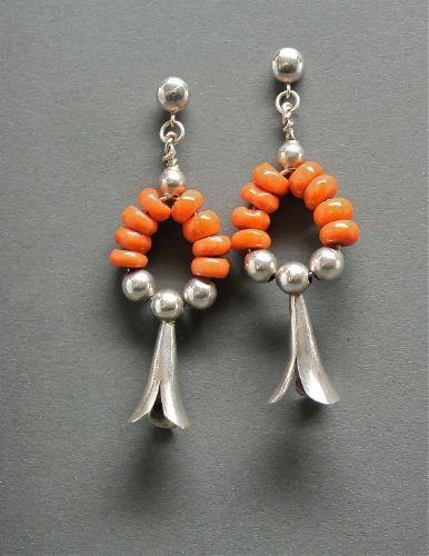 Orange Coral & Blossom Earrings