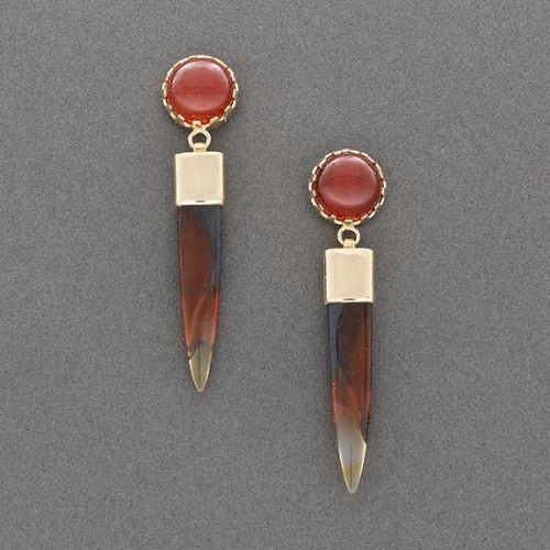 Richard Chavez Earrings of Orange Chalcedony