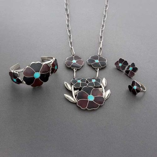 Vernon and Judy Wallace Zuni Inlay Jewelry Set