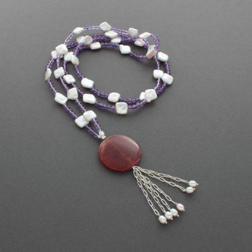 Liz Wallace Amethyst and Pearl Tassel Necklace